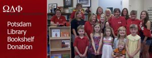 Omega Delta Phi Alumni Association donates bookshelf to Potsdam Library
